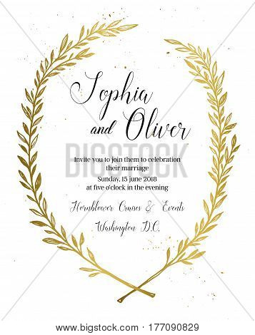 Hand Drawn Vector Illustration - Wedding Invitation With Vintage Branches And Inky Splashes. Gold Bo