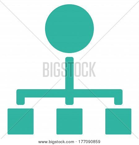 Hierarchy vector icon. Flat cyan symbol. Pictogram is isolated on a white background. Designed for web and software interfaces.