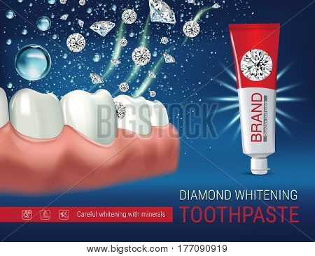 Whitening toothpaste ads. Vector 3d Illustration with toothpaste and dimonds. Poster with product.