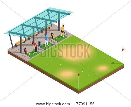 Golf training isometric composition with instructor and players swinging putter under canopy vector illustration
