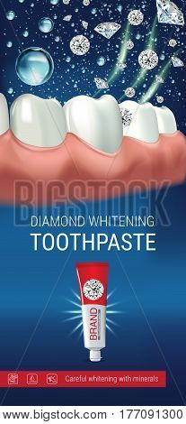 Whitening toothpaste ads. Vector 3d Illustration with toothpaste and diamonds. Vertical banner with product.