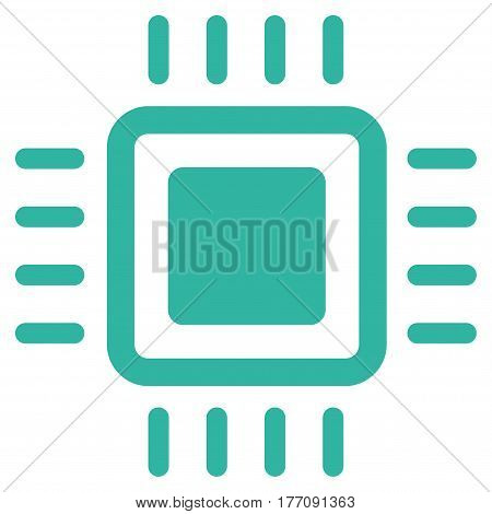 Processor vector icon. Flat cyan symbol. Pictogram is isolated on a white background. Designed for web and software interfaces.