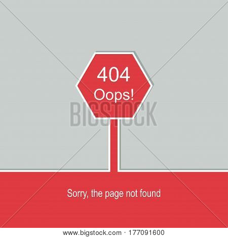 Concept page 404.  Sorry, page not found. Template reports that the page is not found. 404 connection error.  Vector.
