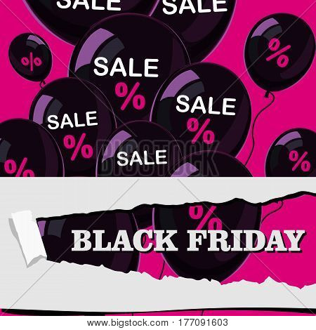 black friday, sale, poster with black shiny balloons on pink background in flat design