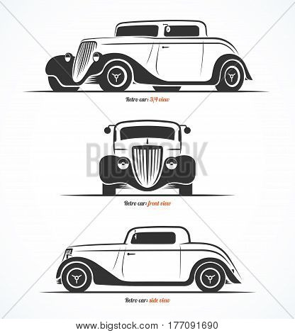 Set of hot rod or vintage custom sports car silhouettes. Front, side and three quarter view. Vector background