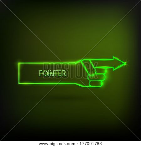 Neon arrow pointer, glowing signboard  on a black background. Vector illustration