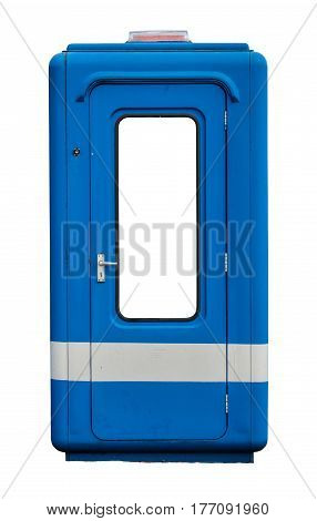 Isolated Grungy Parking Guard Or Tollbooth Cabin Or Kiosk With Space For Text