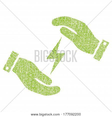Electricity Supply Care Hands vector textured icon for overlay watermark stamps. Fabric light green vectorized texture. Symbol with dirty design. Rubber seal stamp with fiber textile structure.