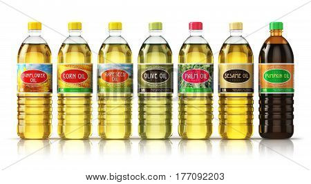 Creative abstract 3D render illustration of the set of plasic container bottles with sunflower corn seed rape or rapeseed olive palm sesame and pumpkin vegetable cooking oils isolated on white background with reflection effect