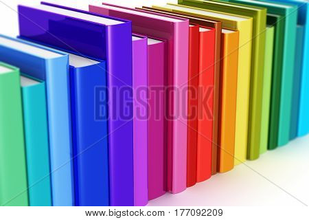 3D render illustration of the macro view of rainbow color hardcover books isolated on white background with selective focus effect