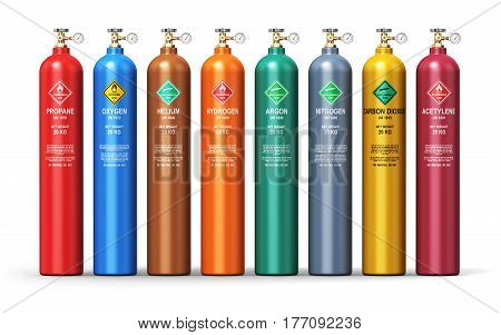 3D render illustration of the set of color metal steel containers or cylinders with different liquefied compressed natural gases LNG or LPG with high pressure gauge meters and valves isolated on white background