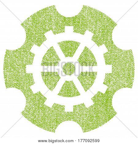 Gearwheel vector textured icon for overlay watermark stamps. Fabric light green vectorized texture. Symbol with dirty design. Rubber seal stamp with fiber textile structure.