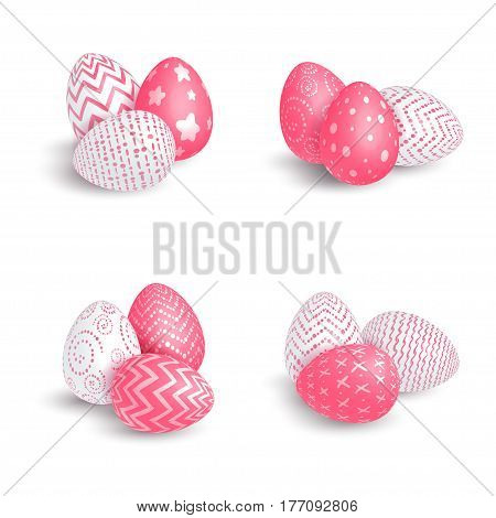 A set of different piles of Easter eggs consisting of white and red lying and standing eggs with patterns on a white background. Isolated. Vector illustration