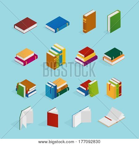 Set of isometric icons with books in colorful covers with bookmarks on blue background isolated vector illustration