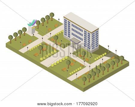 Isometric university and campus composition with university building and garden vector illustration