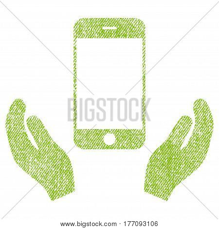 Smartphone Care Hands vector textured icon for overlay watermark stamps. Fabric light green vectorized texture. Symbol with dirty design. Rubber seal stamp with fiber textile structure.