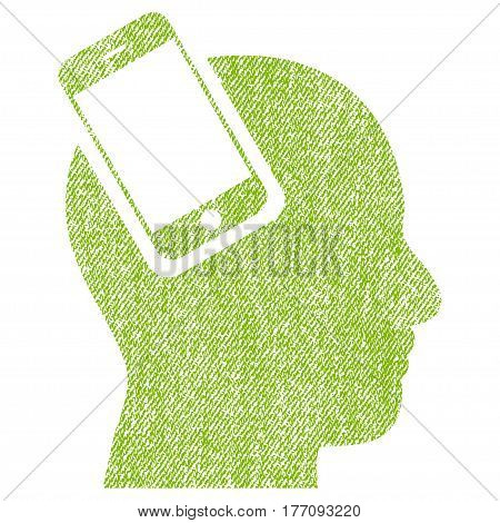 Smartphone Head Integration vector textured icon for overlay watermark stamps. Fabric light green vectorized texture. Symbol with dust design. Rubber seal stamp with fiber textile structure.