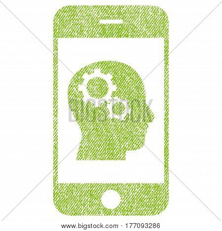 Smartphone Intellect Gears vector textured icon for overlay watermark stamps. Fabric light green vectorized texture. Symbol with dust design. Rubber seal stamp with fiber textile structure.