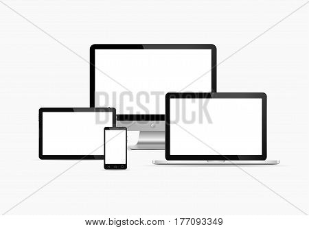 Electronic devices with white screen. Vector illustration. Set of monitor tablet pcsmart phone and laptop.