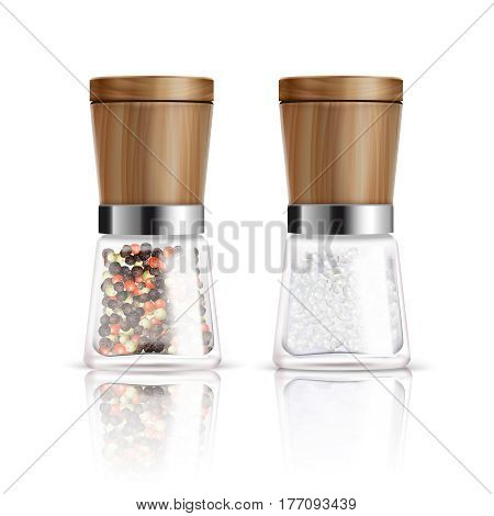 Two isolated realistic salt and pepper mill composition with glass container and wooden cover vector illustration