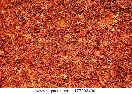 Exotic spice saffron for coloring food on the market
