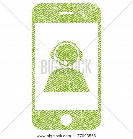 Smartphone Operator Contact Portrait vector textured icon for overlay watermark stamps. Fabric light green vectorized texture. Symbol with dirty design. Rubber seal stamp with fiber textile structure.