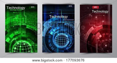 Abstract technology background could be used for brochure vector illustration in green and blue red set