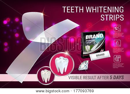 Professional Whitening Stripes ads. Vector 3d Illustration with dental bleaching whiter and diamonds. Horizontal banner with product.