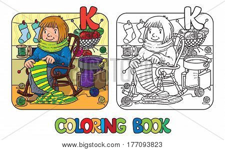 Coloring book of funny smiling knitter. Woman, sitting in a rocking chair, knitting a scarf, surrounded by yarn. Profession ABC series. Children vector illustration. Alphabet K