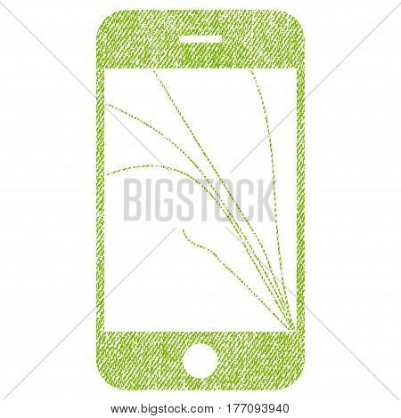 Smartphone Screen Cracks vector textured icon for overlay watermark stamps. Fabric light green vectorized texture. Symbol with dirty design. Rubber seal stamp with fiber textile structure.