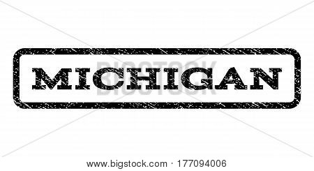 Michigan watermark stamp. Text tag inside rounded rectangle frame with grunge design style. Rubber seal stamp with dust texture. Vector black ink imprint on a white background.