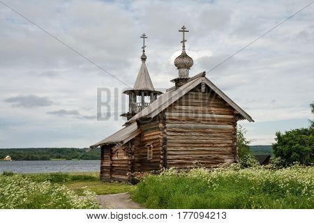 Old wooden church The Dormition Chapel Kizhi island Karelia Russia