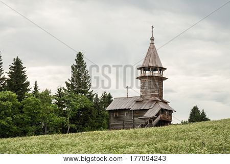 Old wooden church Chapel of three sanctifiers Kizhi island Karelia Russia