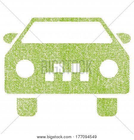 Taxi Car vector textured icon for overlay watermark stamps. Fabric light green vectorized texture. Symbol with scratched design. Rubber seal stamp with fiber textile structure.