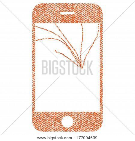 Broken Smartphone Screen vector textured icon for overlay watermark stamps. Fabric orange vectorized texture. Symbol with scratched design. Rubber seal stamp with fiber textile structure.