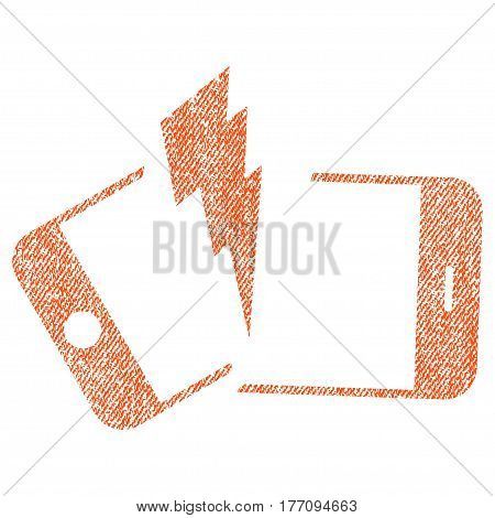 Broken Smartphone vector textured icon for overlay watermark stamps. Fabric orange vectorized texture. Symbol with scratched design. Rubber seal stamp with fiber textile structure.