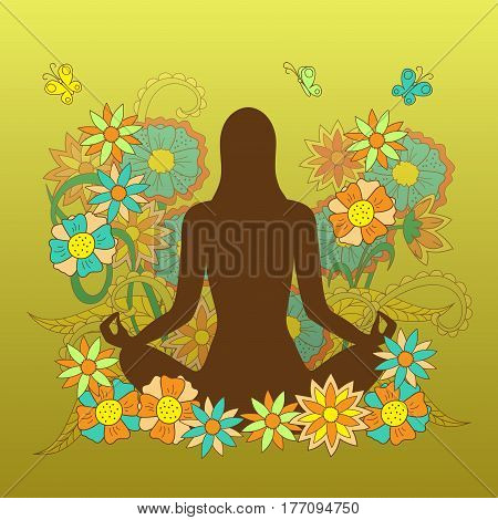 card with girl silhouette in yoga lotus pose on the hand drawn floral pattern for visit card posters yoga classes courses banners. eps 10.