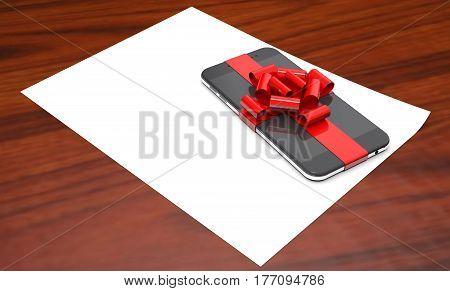 Gift mobile phone on paper on wooden background (3d illustration).