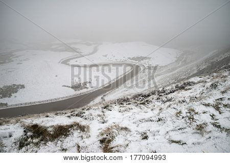 Beautiful Winter Landscape Image Around Mam Tor Countryside In Peak District England With Thick Fog