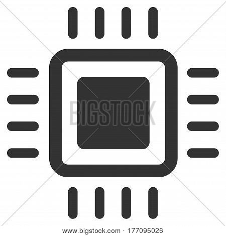 Processor vector icon. Flat gray symbol. Pictogram is isolated on a white background. Designed for web and software interfaces.