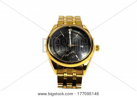 Smart black digital wristwatch isolated on a white background.
