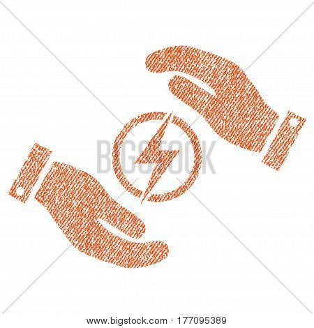 Electric Energy Insurance Hands vector textured icon for overlay watermark stamps. Fabric orange vectorized texture. Symbol with unclean design. Rubber seal stamp with fiber textile structure.