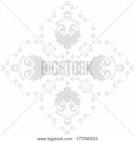 Elegant vector light ornament in classic style. Abstract traditional pattern with oriental elements. Classic vintage pattern