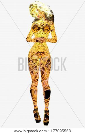 Woman body of Light on white background. Magical Color Lights. Translucent girl. Conceptual fashion art. Seductive candid pose. Photorealistic 3D render illustration. Isolate. Studio.