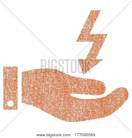 Electric Energy Service Hand vector textured icon for overlay watermark stamps. Fabric orange vectorized texture. Symbol with dirty design. Rubber seal stamp with fiber textile structure.
