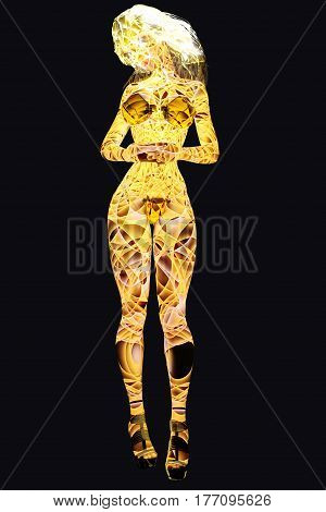 Woman body of Light on black background. Magical Color Lights. Translucent girl. Conceptual fashion art. Seductive candid pose. Photorealistic 3D render illustration. Isolate. Studio.