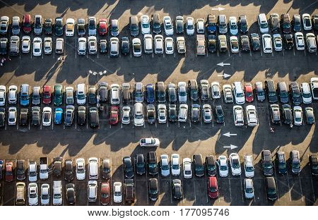 Cars in a parking, view from above