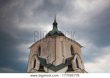 The Pilgrimage Church of St John of Nepomuk (Green Hill) before heavy storm Czech Republic