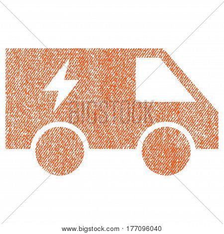 Electric Power Car vector textured icon for overlay watermark stamps. Fabric orange vectorized texture. Symbol with dirty design. Rubber seal stamp with fiber textile structure.