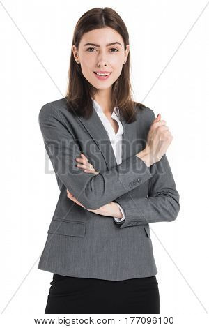 Portrait of business woman with expressive face isolated on white background